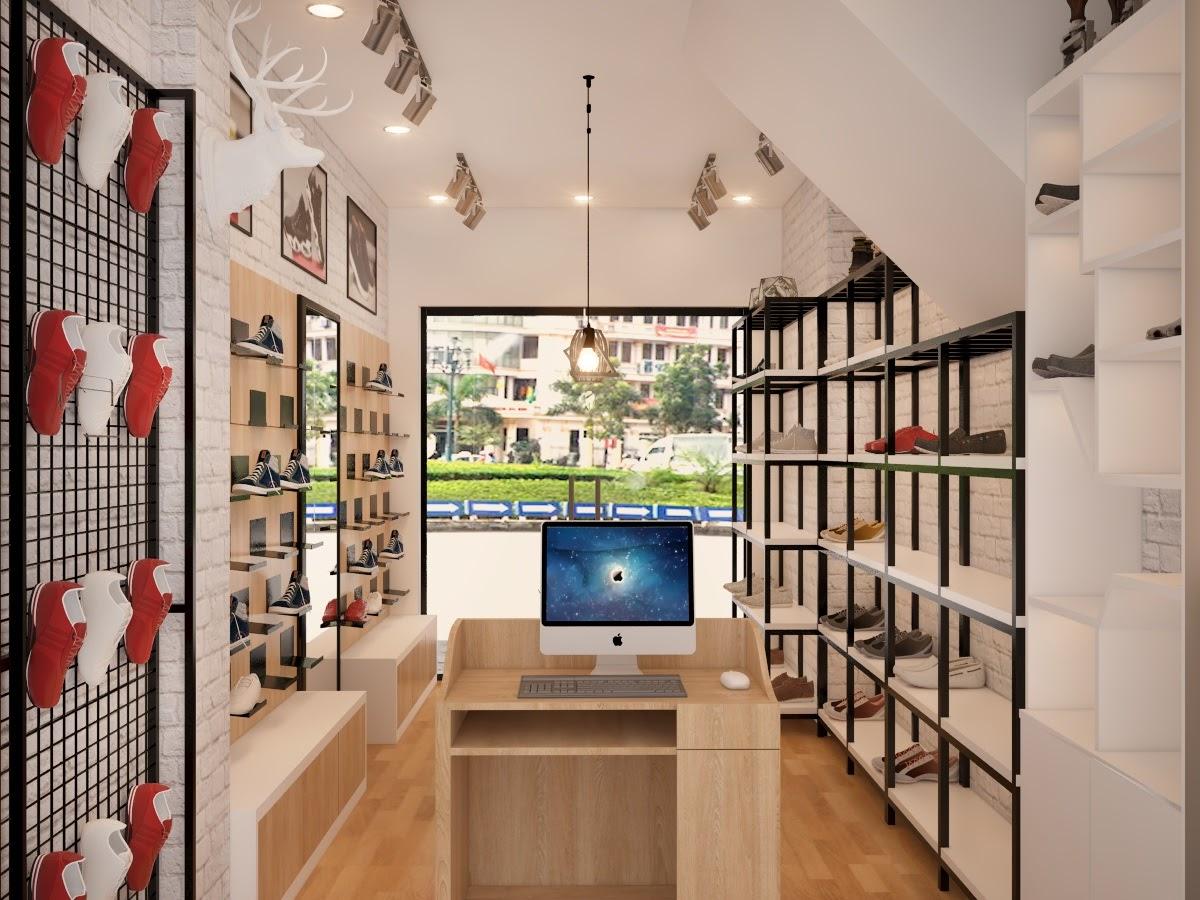 Thiết kế cửa hàng giày dép đơn giản