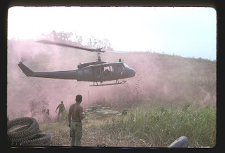 Photo: Bennie Koon picture of huey landing on LZ Peanuts.  Appears to be C Company 229th tail number:  4977S