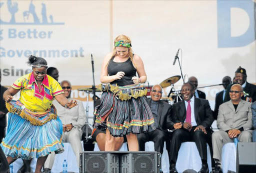 NOT ENTIRELY TRADITIONAL: A 'traditional' dancer at an event attended by President Jacob Zuma Picture: FILE