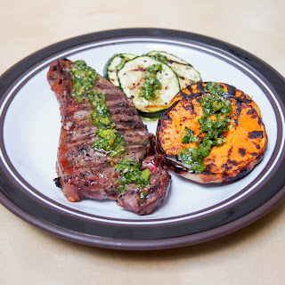 Grilled Butternut Squash, Zucchini And Steak With Chimichurri Sauce