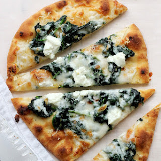 Flatbread Pizza with Spinach and Goat Cheese.