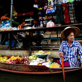 A Fruit Seller In Floating Market by Steven De Siow - City,  Street & Park  Markets & Shops ( market, travel photography, thailand, travel, people )