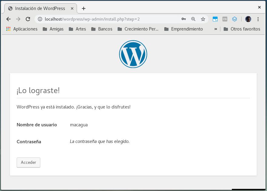 WordPress ha sido instalado correctamente