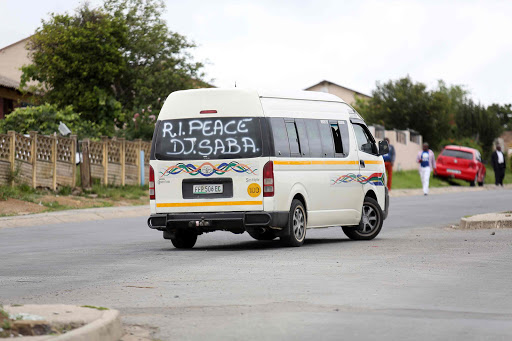 SON OF THE SOIL: A taxi bears a condolence message for DJ Saba in Zwelitsha Picture: MARK ANDREWS