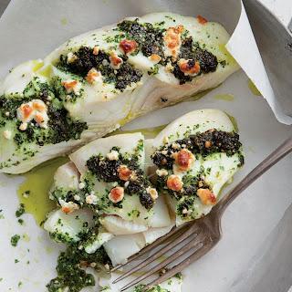 Halibut Stuffed With Kale and Feta Pesto