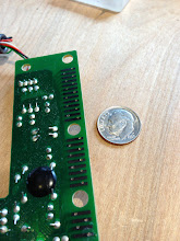 "Photo: 0.0260"" holes all drilled in controller PCB"