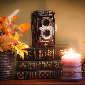 Give Thanks by Mary Phelps - Public Holidays Thanksgiving ( candle, books, pumpkin, still life, fall, 2016, camera, book, thanksgiving,  )