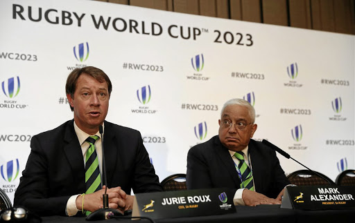Surprise announcement: SA Rugby CEO Jurie Roux, left, and the organisation's president, Mark Alexander, face the media after Wednesday's bid announcement in which France was awarded hosting rights to the 2023 Rugby World Cup. Picture: REUTERS