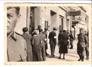 Photo: Street picture of Jews and soldiers in Milec, 9-6-40