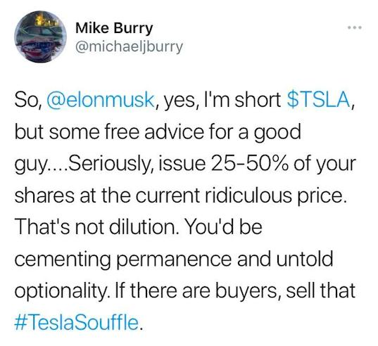 Michael Burry Short Tesla Stock Tweet
