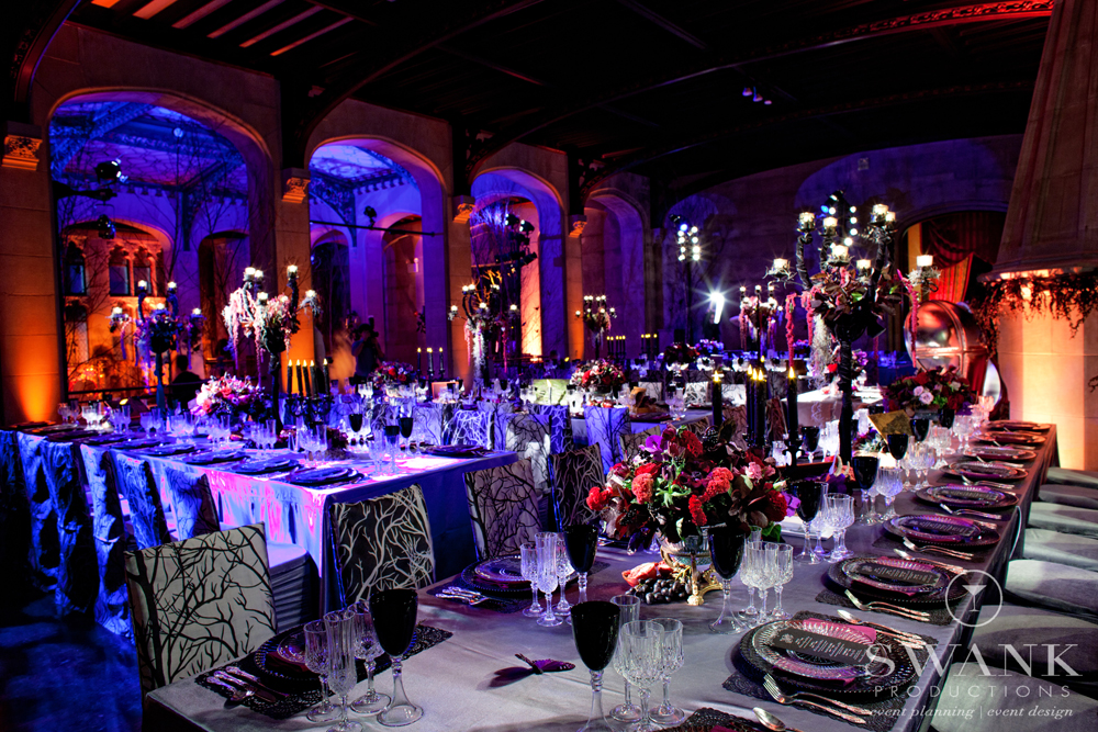 Photo: #Reception, #Halloween Wedding #Table Decor #Creepy Chic HalloweenInspired Wedding. Wedding Planning, Event Design & Production by SWANK Productions at Hempstead House at Sands Point Preserve, www.swankproducti...