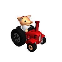 Peter the piglet and his tractor