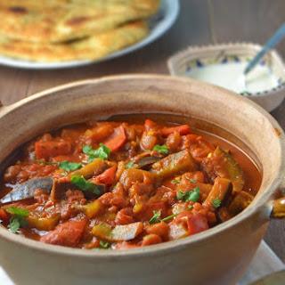 Aubergine & Red Pepper Curry.