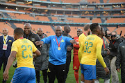 Pitso Mosimane of Mamelodi Sundowns during the Shell Helix Ultra Cup match between Kaizer Chiefs and Mamelodi Sundowns at FNB Stadium on July 21, 2018 in Johannesburg, South Africa.