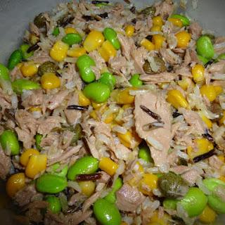 Tuna, Wild Rice, Sweetcorn and Soya Bean Salad with a light Mustard Dressing.