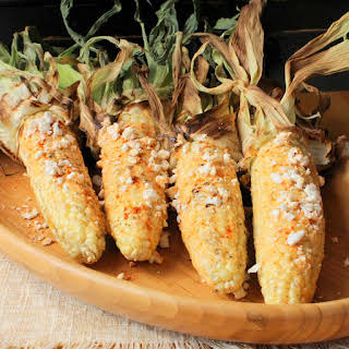 Grilled Corn on the Cob with Chili, Lime and Cotija Cheese.