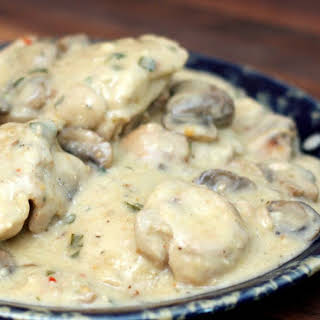 Chicken Thighs With Mushroom and Wine Sauce.