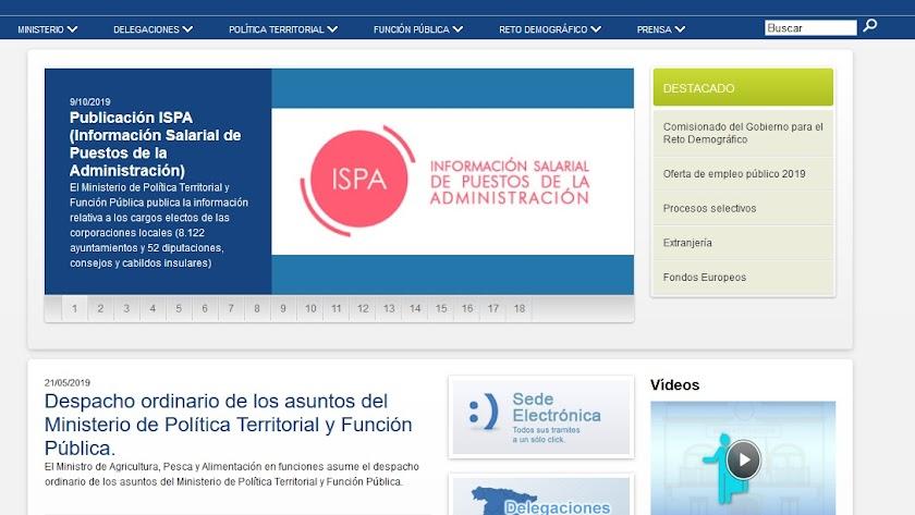 Web del Ministerio de Política Territorial.