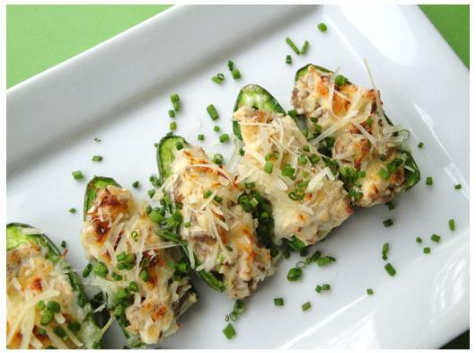 Once the Jalapenos are stuffed you can either sprinkle with your favorite grated cheese,...