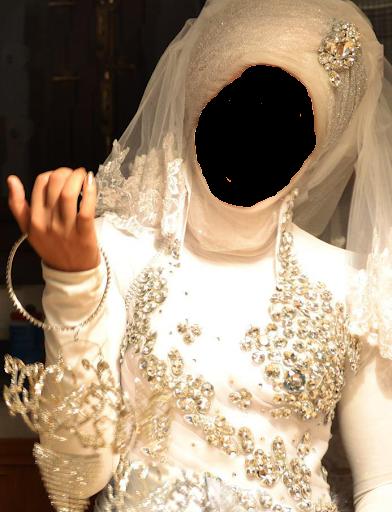 ヒジャーブ女性のフォトモンタージュ