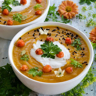 Sweet Potato And Chickpea Soup With Coconut Cream.