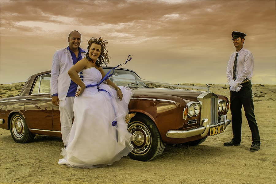 Couple and Cauffeur by Johan Jooste Snr - Wedding Bride & Groom ( chauffeur, wedding car, moody, wedding couple, namibia )