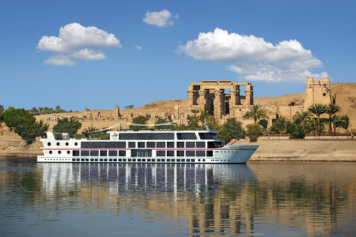 Viking Ra during a stop at the ancient temples at Luxor along the Nile River.