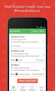WeMeal - Shabbat App - náhled