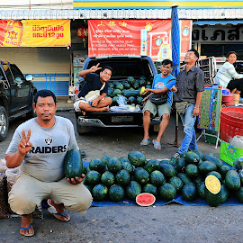 Traditional Thai Family Street Traders selling Watermellons by James Morris - Food & Drink Fruits & Vegetables ( traditional, traders, street, thai, selling, watermellons, family )