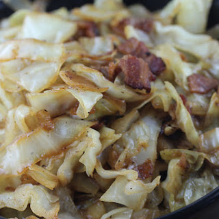 Fried Cabbage with Bacon Onion and Garlic.