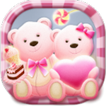 Cute Bear love honey with Pink hearts DIY Theme Icon