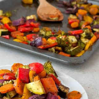 Oil Free Rainbow Roasted Vegetables.