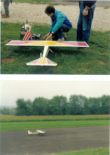 Photo: Printemps 1991, Stéphane inaugure son Johnny sur le nouveau terrain, construction perso, moteur OS 6,5cm avec résonateur ... il ne finira malheureusement pas la saison après un crash fatal.