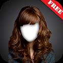 Woman hair style photo montage icon