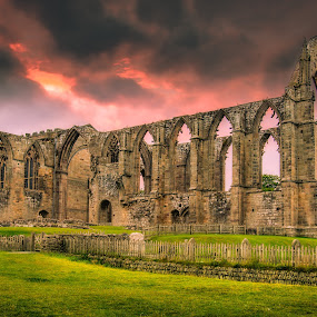 Abbey by Darrell Evans - Buildings & Architecture Public & Historical ( clouds, augustinian monastery, old, building, church, remains, grass, ruin, priory, green, stone, d600, grave yard, grave, worship, religion, augustinian, fence, bolton abbey, blue, monastery, buildings, trees, nikon, abbey,  )