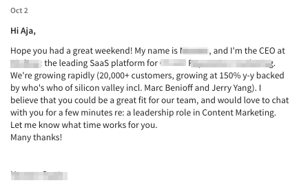 Enthusiastic LinkedIn InMail example for a recruiter or hiring manager