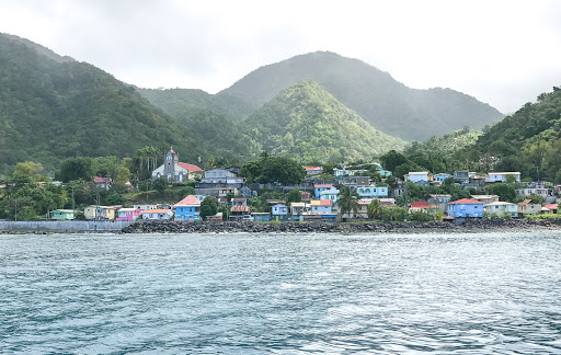 dominica-coastline-3.jpg - Colorful houses line the western coastline of Dominica.