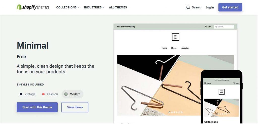 Free Shopify themes - minimal