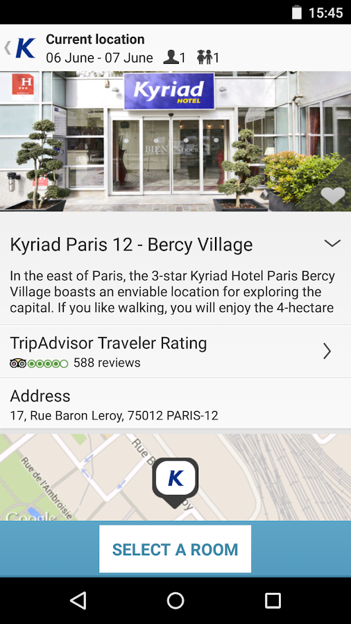 Kyriad, hotel booking- screenshot