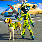 Stickman Army Dog Chase Crime Simulator