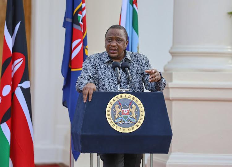 President Uhuru Kenyatta during the Eighth Presidential address on the coronavirus pandemic at State House, Nairobi, June 6.