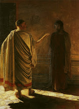 Photo: Title: What is Truth? (Christ and Pilate) Artist: Nikolai Ge Medium: Oil on canvas Size: 233 x 171 cm Date: 1890 Location: The Tretyakov Gallery, Moscow. http://iconsandimagery.blogspot.com/2009/07/what-is-truth-christ-and-pilate.html