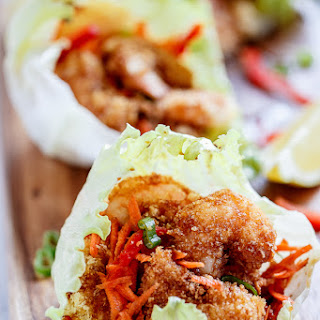 Oven Fried Tempura Batter Shrimp Lettuce Wraps with a Teriyaki Sauce