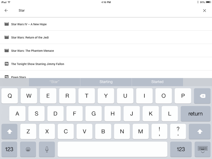 Search for content in the Fiber TV app (iOS).