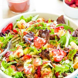 Strawberry Fields Panzanella Salad with Strawberry Balsamic Vinaigrette