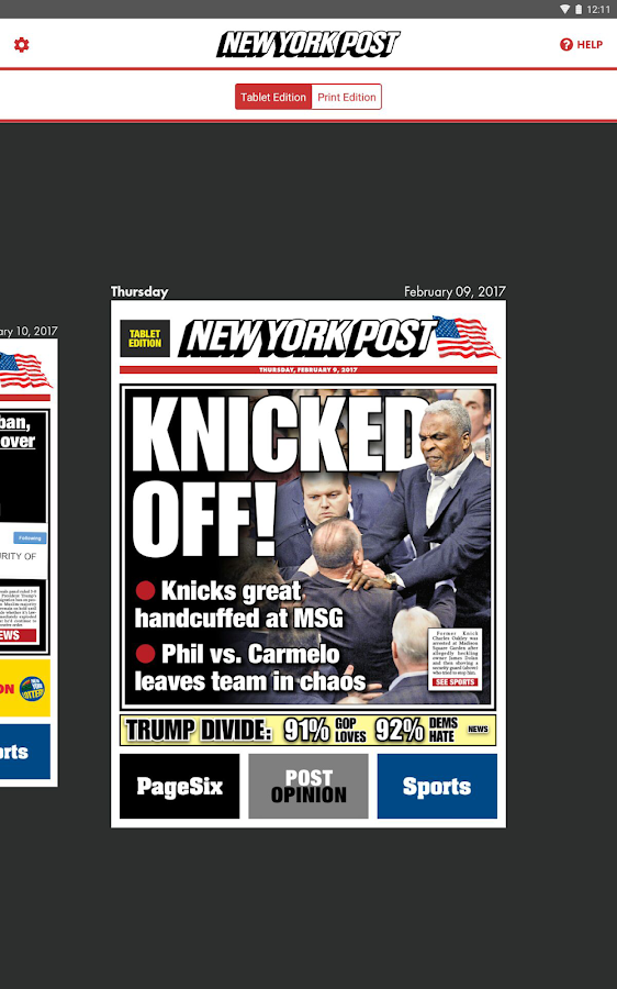 New York Post for Tablet – snimka zaslona