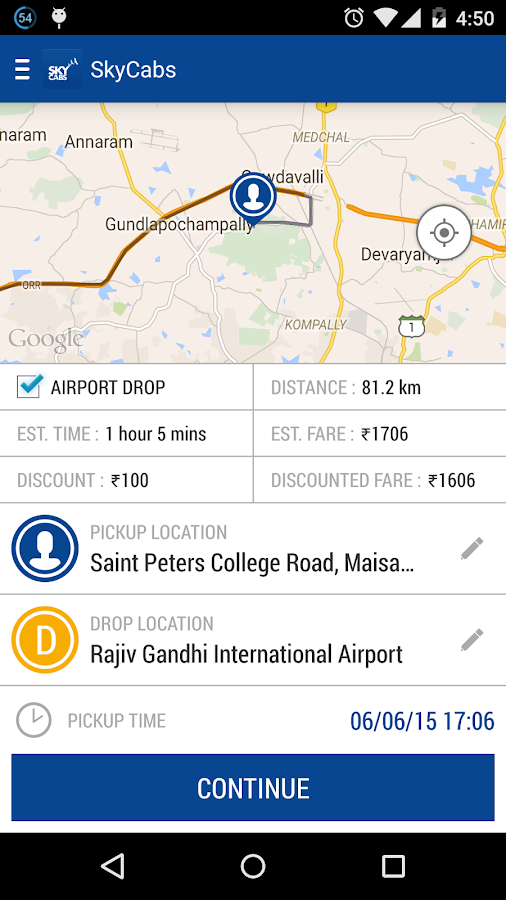 Sky Cabs -Radio Taxi Hyderabad- screenshot