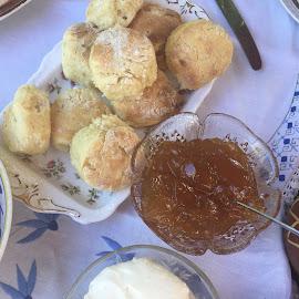 Devonshire Tea Anyone? by Dawn Simpson - Food & Drink Plated Food ( tea, afternoon tea, morning tea, jam, scones, m, devonshire tea, friends )