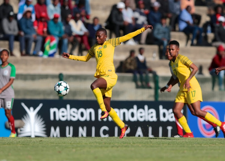 Nompumelelo Nyandeni of South Africa during the COSAFA Womens Championship match between South Africa and Madagascar at Wolfson Stadium on September 12, 2018 in Port Elizabeth, South Africa.