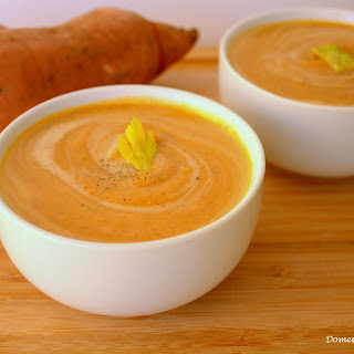 Roasted Sweet Potato and Pumpkin Spice Soup